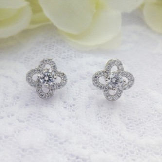 Pretty CZ Flower Studs
