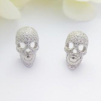 CZ Encrusted Silver Skull Studs
