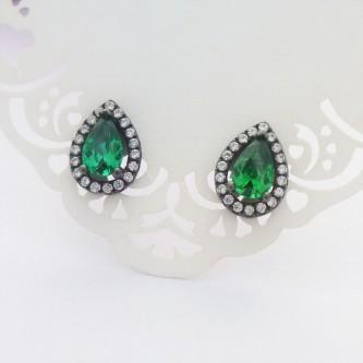 Green Cubic Zirconia Teardrop Studs
