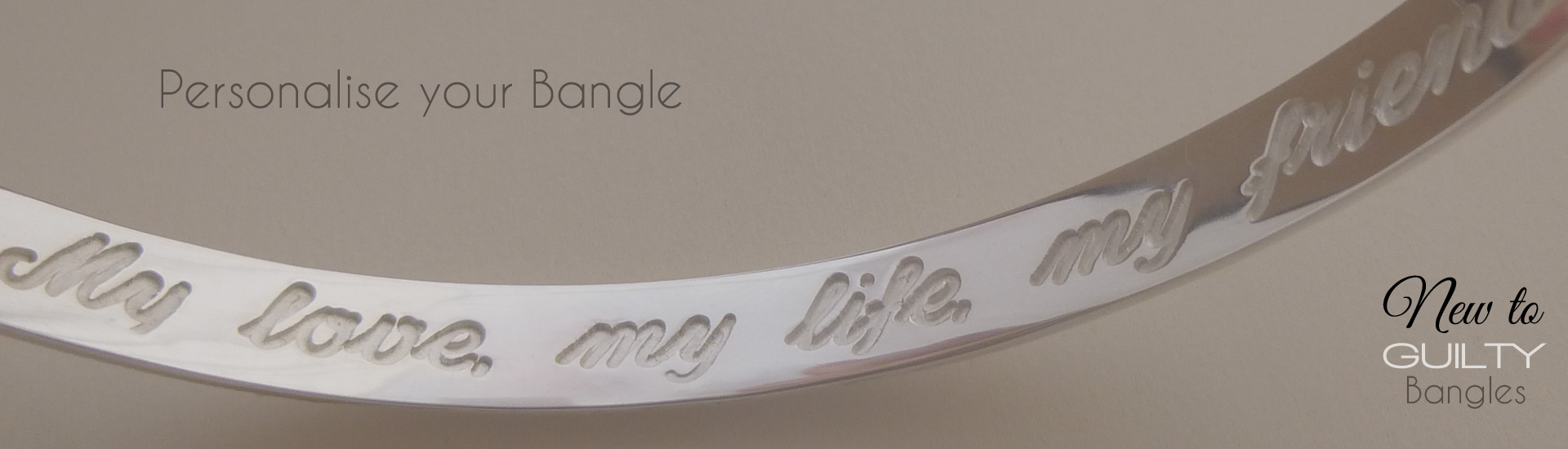 Engraves ladies sterling silver bangles from Guilty