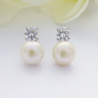 CZ and freshwater pearl silver stud earrings