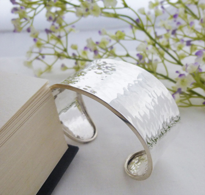 wide hammered ladies sterling silver cuff