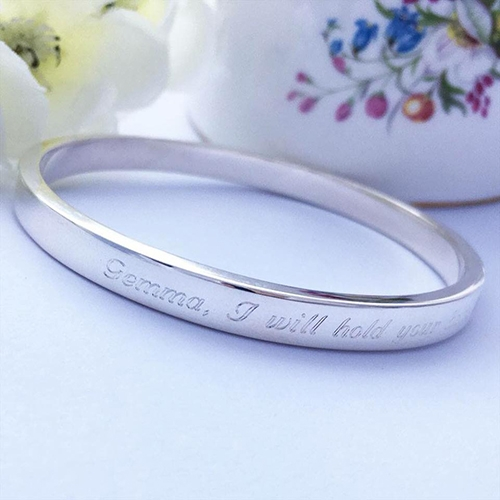 Message engraved on the outside of a bangle