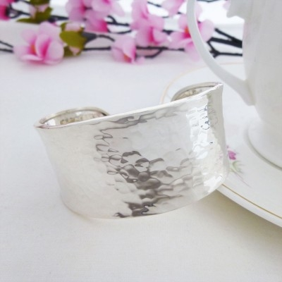 wide hammered torque cuff bangle